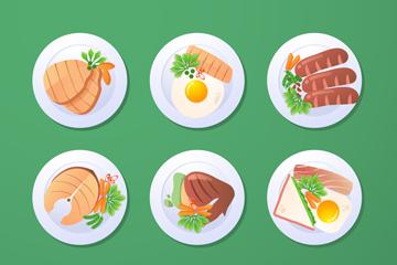 9款美味菜肴俯视图矢量素材