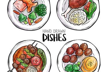 4款彩绘菜肴俯视图矢量素材
