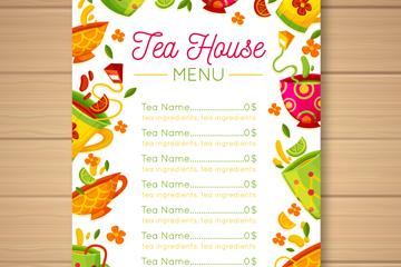 彩色茶具茶水单设计矢量素材
