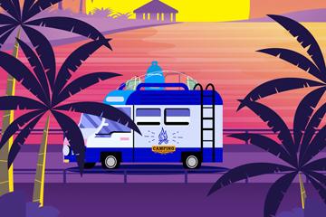 创意旅行度假海边房车矢量素材