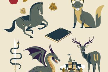 5款灰色童话里的动物矢量素材