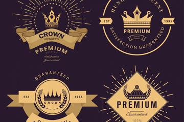 4款复古王冠标签矢量素材