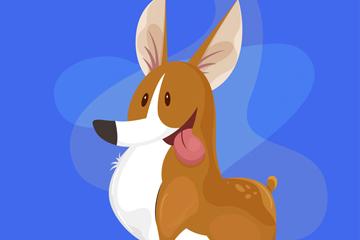卡通吐舌头的柯基犬矢量素材