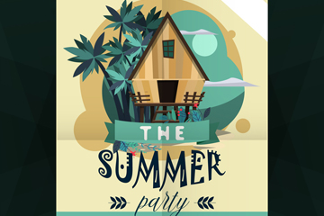 创意度假屋夏季派对传单矢量图