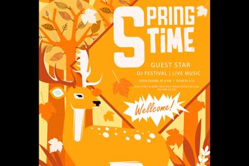 创意森林鹿春季派对传单矢量素材
