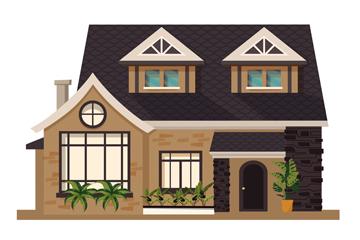创意双层私人住宅矢量素材
