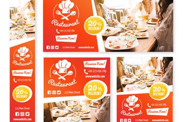 5款创意餐馆促销banner矢量素材