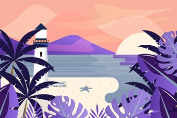 美丽海边沙滩灯塔风景矢量图