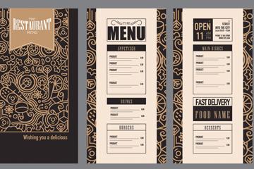 金色花纹餐馆菜单矢量素材