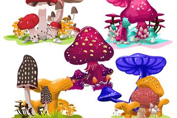 4款彩色卡通蘑菇矢量素材
