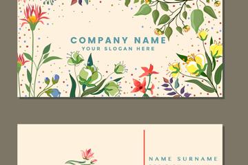 彩绘花卉商务名片正反面矢量图