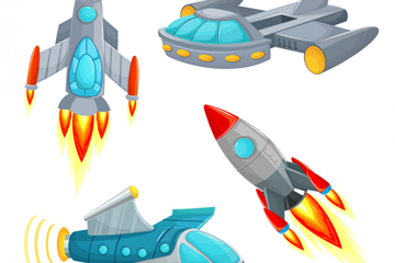 4款卡通宇宙飞船设计矢量图