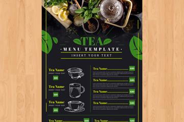 绿色茶馆茶水单设计矢量素材