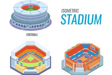 3款立体体育馆设计矢量素材