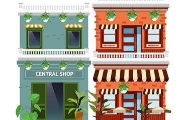 2款时尚商铺建筑设计矢量素材