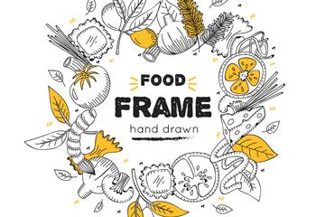 手绘食物框架矢量素材