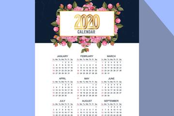 2020年粉色花卉年�v矢量素材