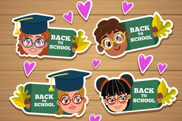 4款可爱返校儿童头像标签矢量图