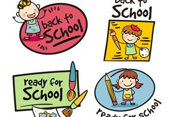 4款手绘返校学生标签矢量图