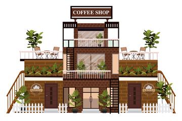 时尚三层咖啡馆设计矢量素材