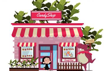 粉色糖果屋建筑矢量素材