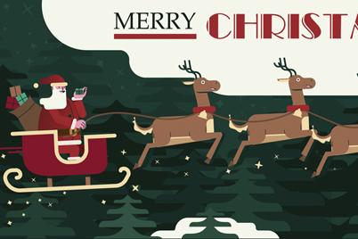 创意圣诞节圣诞老人和驯鹿车矢量图