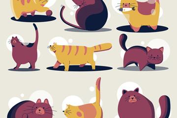 9款卡通猫咪设计矢量素材
