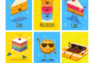 6款彩色甜品卡片设计矢量素材
