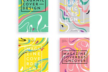 4款抽象花纹杂志封面矢量素材