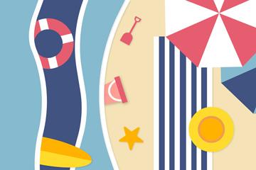 彩色度假沙滩俯视图矢量素材