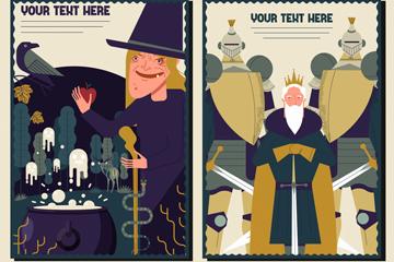 4款创意童话人物海报矢量素材