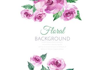 水彩绘紫色玫瑰花矢量素材