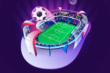 创意飞出足球的体育馆矢量素材