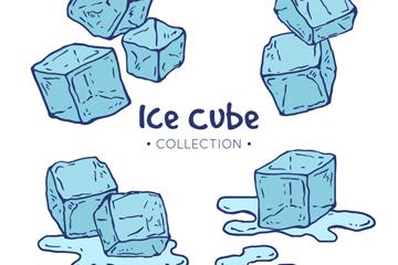 4组手绘冰块设计矢量素材