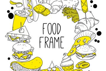 手绘快餐食物框架矢量素材