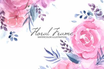 水彩绘粉色玫瑰花矢量素材