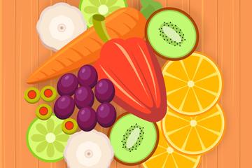 创意桌子上的蔬菜水果矢量图