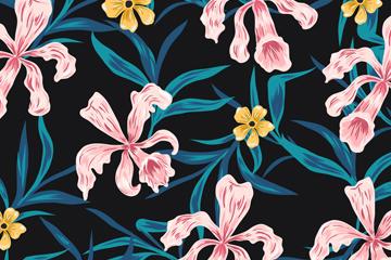 彩绘兰花背景矢量素材