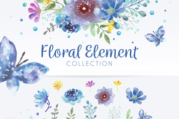 水彩绘蓝色花束蝴蝶和花卉矢量图