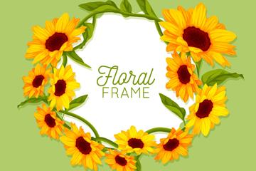 美丽向日葵花框架矢量素材