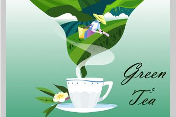创意绿茶茶园海报矢量素材
