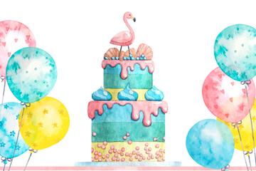 彩色生日派对火烈鸟蛋糕和气球矢量图