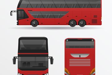 红色旅游客车正侧面矢量素材