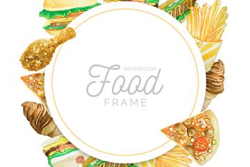 水彩绘快餐食物框架矢量素材