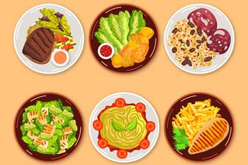 6款美味餐盘里的食物俯视图矢量图