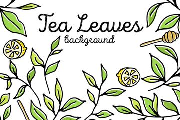绿色茶叶和柠檬矢量素材