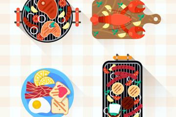 4款创意菜肴食物俯视图矢量图