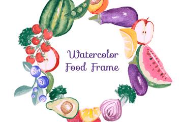 水彩绘果蔬框架矢量素材
