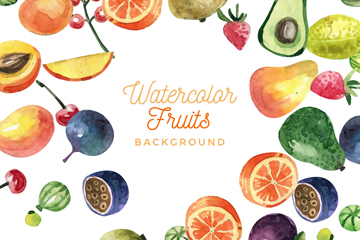水彩绘水果框架设计矢量素材