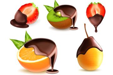 7款裹着巧克力的新鲜水果矢量图